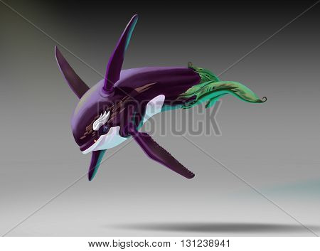 Character eggplant killer in flight, with a mustache and a gold tooth