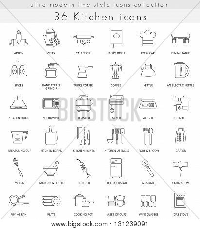 Vector Kitchen ultra modern outline line icons for web and apps