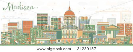 Abstract Madison Skyline with Color Buildings. Vector Illustration. Business Travel and Tourism Concept with Modern Buildings. Image for Presentation Banner Placard and Web Site.