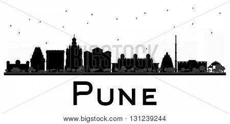 Pune skyline black and white silhouette. Vector illustration. Simple flat concept for tourism presentation, banner, placard or web site. Cityscape with famous landmarks