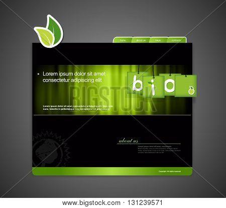 Website template with bio sign. Vector art