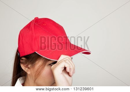 Asian Girl With Red Hat