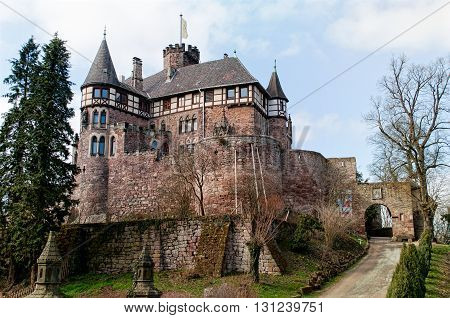 View on the medieval castle Berlepsch in Hessen. Germany