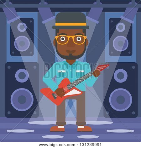 An african-american man playing electric guitar on the stage with spotlights vector flat design illustration. Square layout.