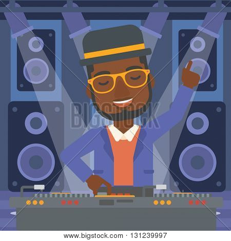 An african-american man in eadphones with hand up playing music on turntable on the background of night club vector flat design illustration. Square layout.