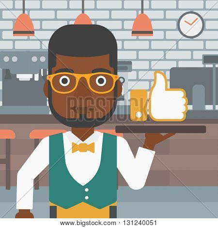 An african-american waiter carrying a tray with like button on a cafe background vector flat design illustration. Square layout.