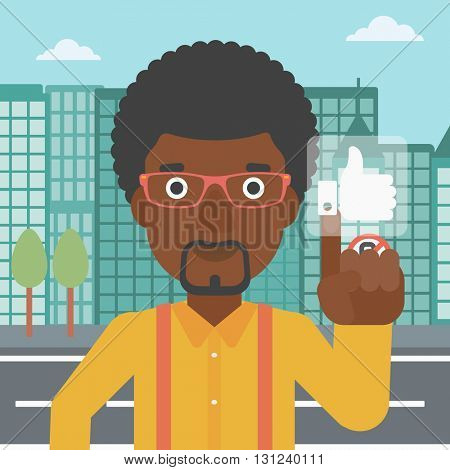 An african-american man pressing like button on a city background vector flat design illustration. Square layout.