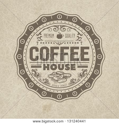 Coffee shop related vector design of a badge for design project