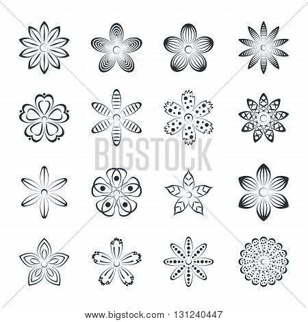 Flower buds vector design elements isolated on white background with ornament.