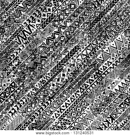 Grunge ethnic background. Seamless black and white pattern vector.