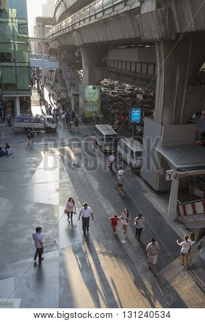 BANGKOK THAILAND - APR 24 : scene of people on walking street in siam square on april 24 2016 thailand. siam square is famous shopping place of Bangkok