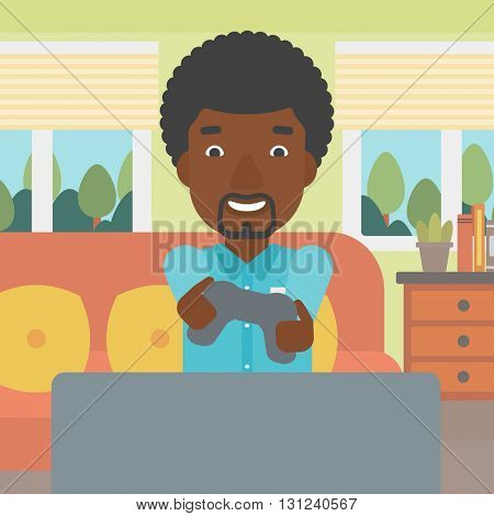 An enthusiastic african-american man sitting on a sofa with gamepad in hands in living room vector flat design illustration. Square layout.