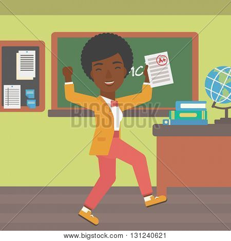 An african-american pupil holding a sheet with the highest mark on the background of classroom vector flat design illustration. Square layout.