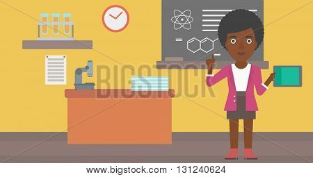 An african-american woman standing with a tablet computer and pointing her forefinger up on the background of chemistry class vector flat design illustration. Horizontal layout.