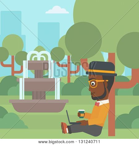 An african-american man with cup of coffee studying in park using a laptop vector flat design illustration. Square layout.
