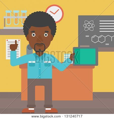 An african-american man standing with a tablet computer and pointing his forefinger up on the background of chemistry class vector flat design illustration. Square layout.