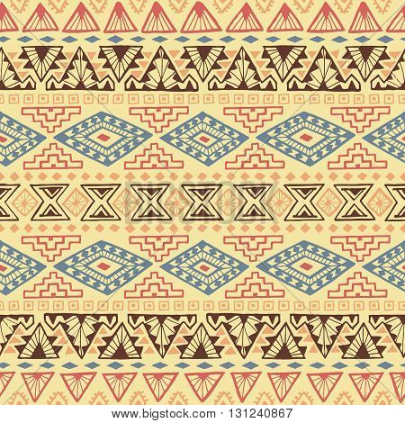 Seamless geometric pattern with tribal motifs. Ethnic ornament. Vector illustration.