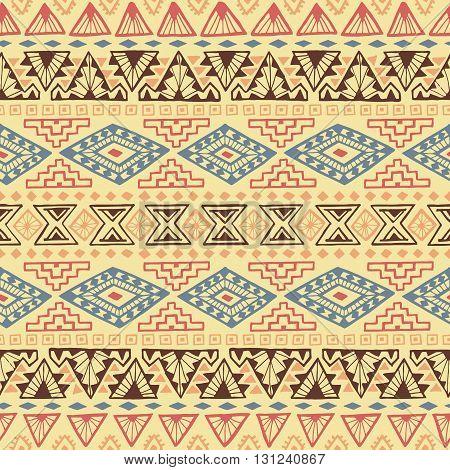 Seamless geometric pattern with tribal motifs. Ethnic ornament. Vector illustration.