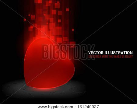 abstract image of explosion, illustration background, dark matter, the explosion effect. With the image of the heart.