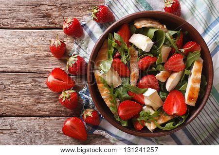 Fresh Salad With Strawberry, Chicken, Brie And Arugula. Horizontal Top View
