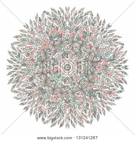 Mandala. Ethnicity floral round ornament. Circular ornament in ethnic style. Floral elements for invitation card. Vector oriental pattern. Vintage decorative elements. Arabic, Islamic motifs.
