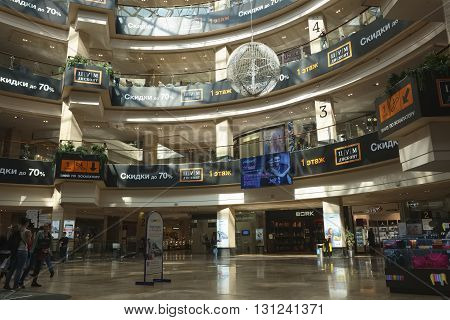 MOSCOW, RUSSIA - MAY, 13 2016: Interior of shopping galleries shopping and entertainment center Afimall City located in the Business Center