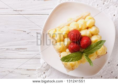 French Millefeuille Dessert With Strawberries Horizontal Top View