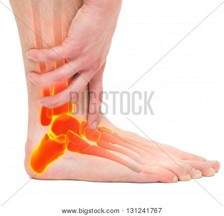 Twisted Ankle - Man Holding Ankle - Anatomy Male