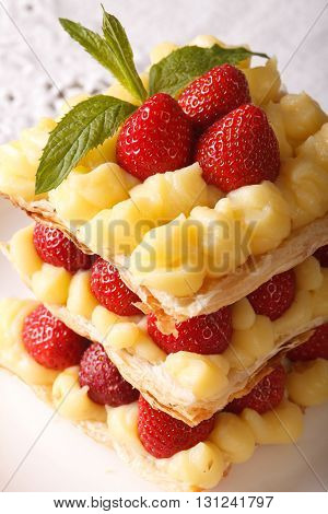 French Strawberry Millefeuille With Cream Patissiere Macro. Vertical