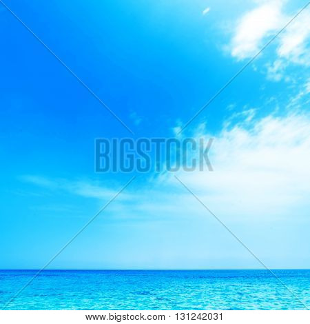 Blue sea and blue sky background clear unusual sky resort