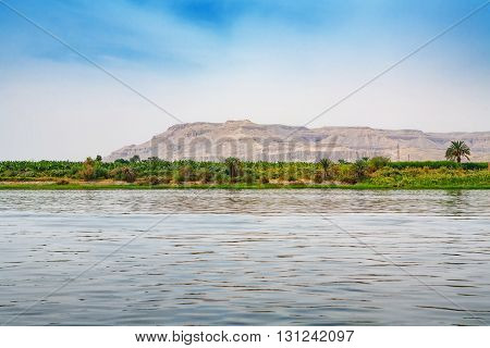 View of coastline Nile river near Luxor. Egypt Africa