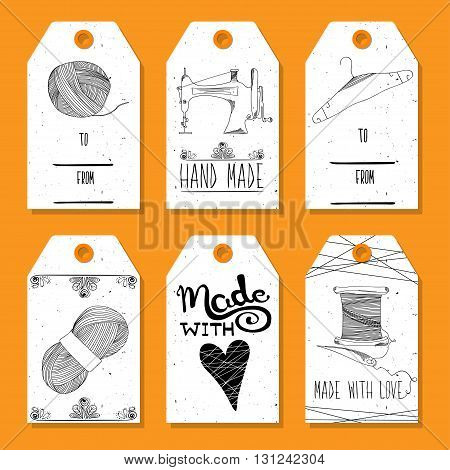 Printable tags in a retro style Hand-drawn. Sewing devices devices for manufacturing tailoring and textiles. Made with love. Fashion Europe and America. Vector illustration