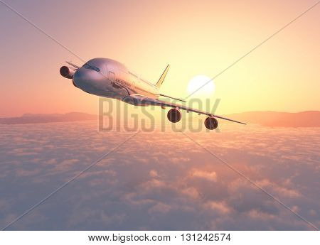 Passenger plane above the clouds. 3d render