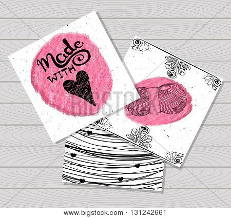 Printable card in the style of Hand-drawn. Sewing devices devices for manufacturing tailoring and textiles. Made with love. Skein of yarn for knitting. Fashion. Vector illustration