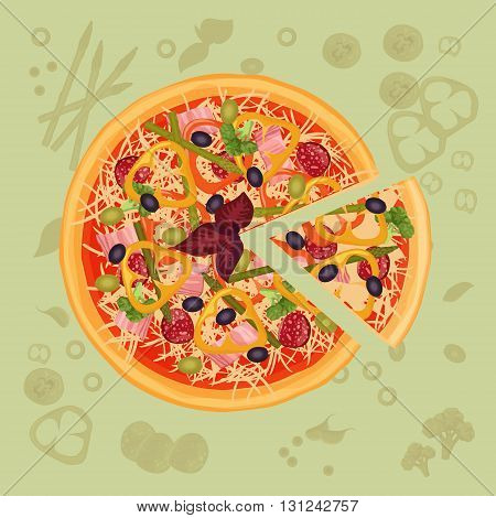 Piece of pizza on the cutting board. Pizza menu illustration