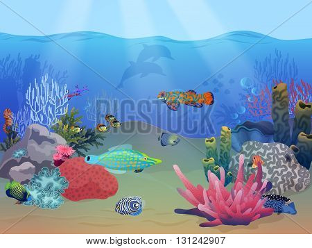 Sea ocean underwater landscape scene with colorful exotic fish, plants and coral reef