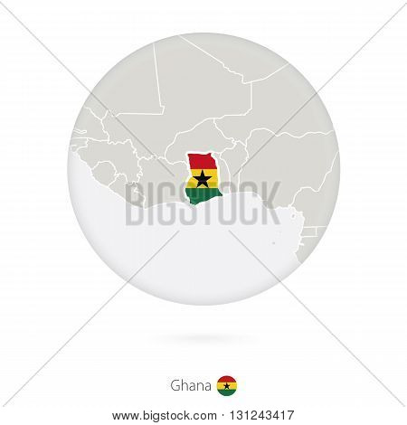Map Of Ghana And National Flag In A Circle.