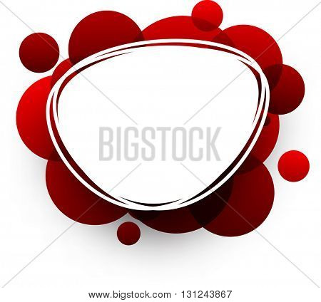 Paper oval white abstract background with red bubbles. Vector illustration.