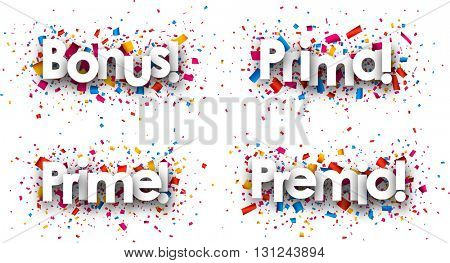 Bonus paper backgrounds with confetti, Spanish, Italian, French. Vector illustration.