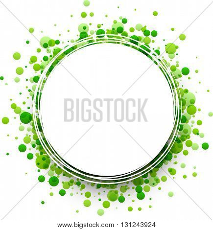 Paper round white background with green drops. Vector illustration.