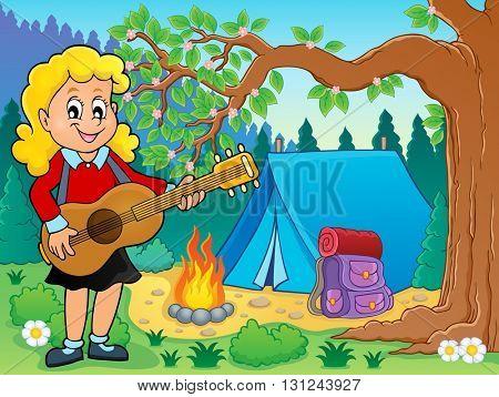 Girl guitar player in campsite theme 2 - eps10 vector illustration.