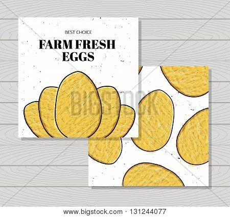 Hand drawn colorful card farm fresh eggs chickens. Protein Breakfast. Vegetarian food. Eggs for Easter. Vector illustration
