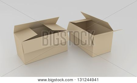 Empty Brown Cardboard Boxes Opened, Ready To Wrap Things In It On White Background