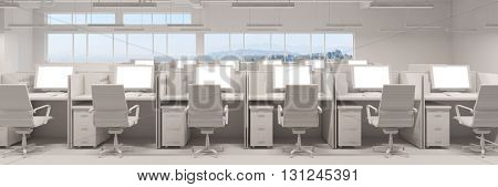 White callcenter office with computer workspaces in panorama format (3D Rendering)