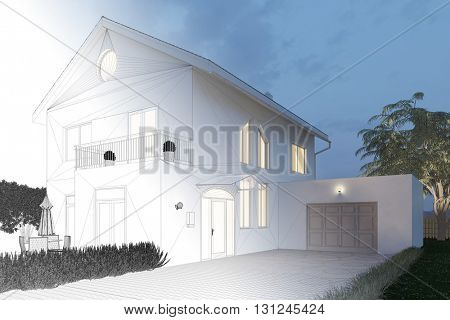 Planning of house exterior from CAD blueprint to 3D Rendering