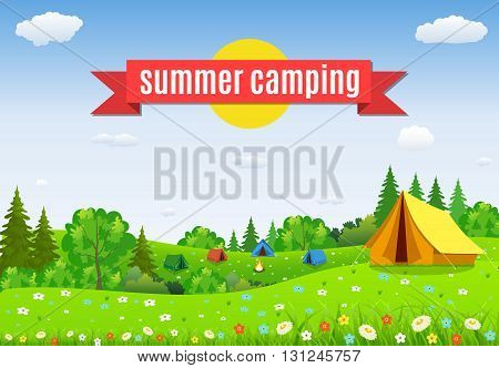 tourist tent and green blossom meadow on a cloudy sky. Summer camping. Natural vector landscape. vector illustration in flat design