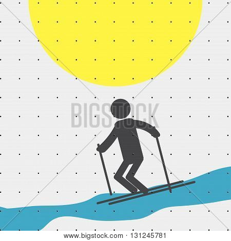 Colorful sports poster-style minimalism flat for commercial websites. The athlete is skiing. Vector illustration