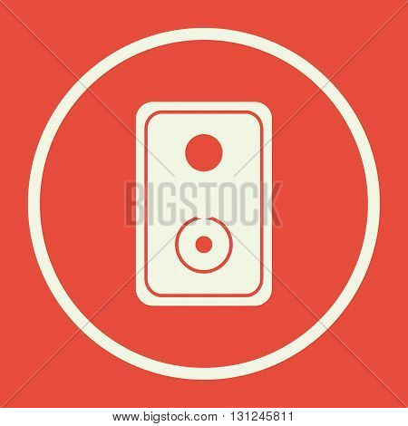 Speaker Icon In Vector Format. Premium Quality Speaker Symbol. Web Graphic Speaker Sign On Red Backg