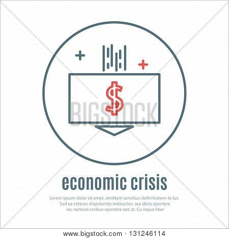 icons on a theme of economic crisis. Vector
