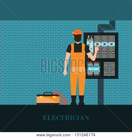 Electrician holding Measuring the power screwdriver with Electrical control wire system Supply of electricity vector illustration.